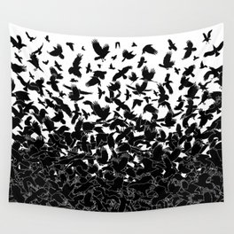 Raven Crow Flying Birds Abstract Goth Halloween Pattern Wall Tapestry