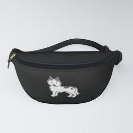 Grey Piebald Siberian Husky Dog Cute Cartoon Illustration Fanny Pack