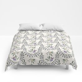 Natural Olive Leaf Berry Birds on Branch Comforters