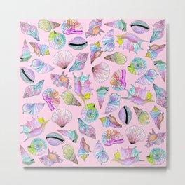 Summer Seashells in Girly Painted Watercolor Paint Metal Print