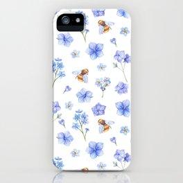 Elegant lavender brown watercolor honey bee floral iPhone Case