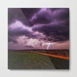 Lighting Crashes - Lightning Strike on Stormy Night in Kansas Metal Print