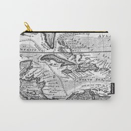 Vintage Map of the Caribbean (1732) BW Carry-All Pouch