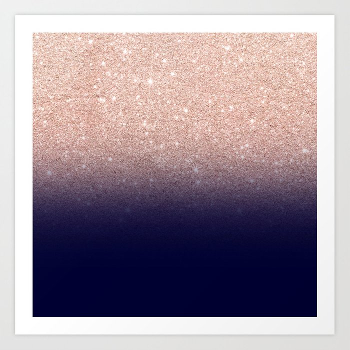 Modern Faux Rose Gold Glitter Ombre Gradient On Navy Blue Art Print