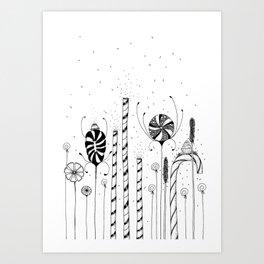Garden of Candy Flowers Ink Illustration Art Print