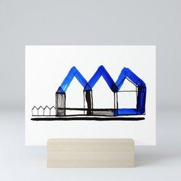 Houses in Blue No.: 02 Mini Art Print