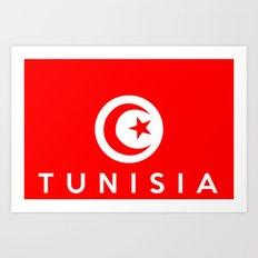 Tunisia country flag name text Art Print