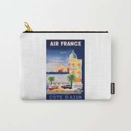 1952 Air France Cote D'Azur Travel Poster Carry-All Pouch