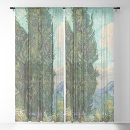 Cypresses by Vincent van Gogh Sheer Curtain