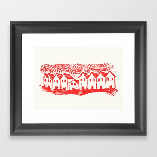 Sad Row (Red) Framed Art Print