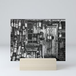 B&W Fishing Shack Mini Art Print