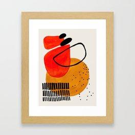 Mid Century Modern Abstract Colorful Art Yellow Ball Orange Shapes Orbit Black Pattern Framed Art Print