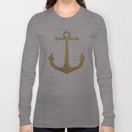 Gold Glitter Anchor Long Sleeve T-shirt