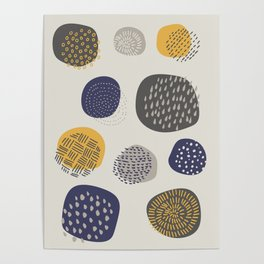Abstract Circles in Mustard, Charcoal, and Navy Poster