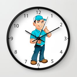 Handyman worker with key in the hand Wall Clock