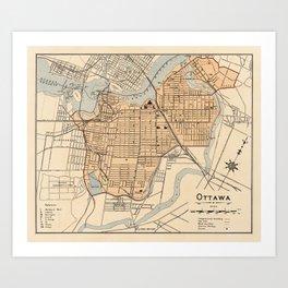 1906 Vintage Map of Ottawa Art Print