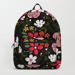 Pretty White Pink Floral Black Brush Strokes Pattern Backpack
