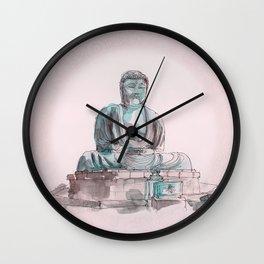 Peace and Harmony watercolor buddha pastel illustration Wall Clock