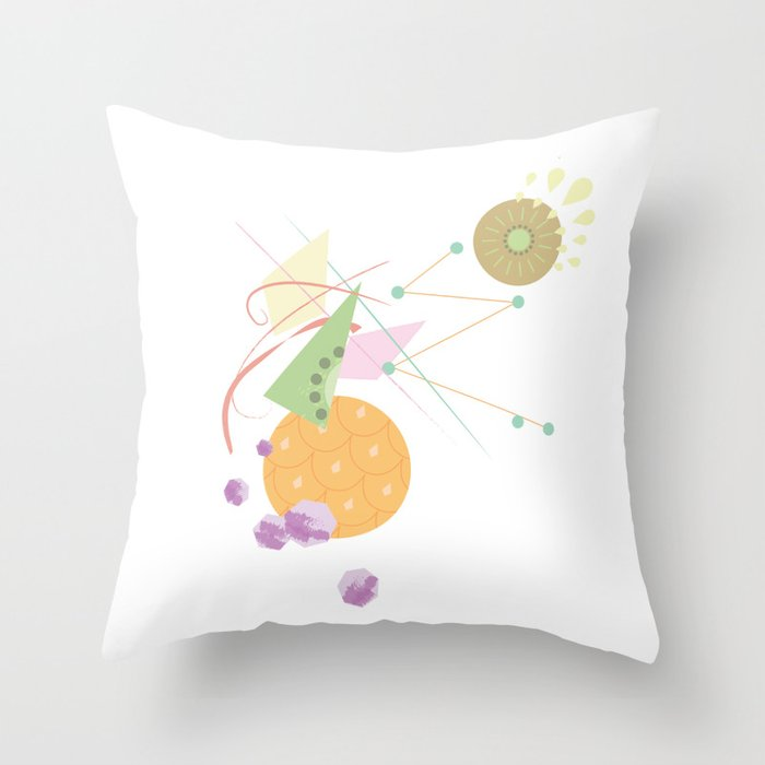 Abstract Fruits Throw Pillow