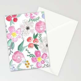 Floral Peony and Rose Watercolor Print  Stationery Cards