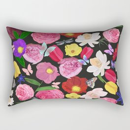 Vibrant Colored Hand Drawn Artistic Flowers Pattern Rectangular Pillow