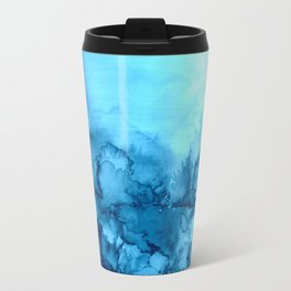 INTO ETERNITY, TURQUOISE Colorful Aqua Blue Watercolor Painting Abstract Art Floral Landscape Nature Travel Mug