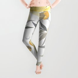 Modern, Floral Prints, Yellow, Gray and White Leggings