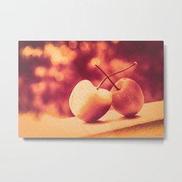 Sweet Moment (Rainier Cherries with Gold & Wine Red Bokeh Background) Metal Print