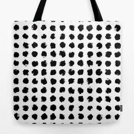 Black and White Minimal Minimalistic Polka Dots Brush Strokes Painting Tote Bag