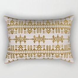 Golden Geometric Tribal Ethnic  Pattern Rectangular Pillow