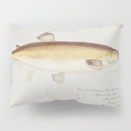 Antique drawing watercolor fish Rough skate marine life Pillow Sham