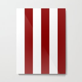 Wide Vertical Stripes - White and Dark Red Metal Print