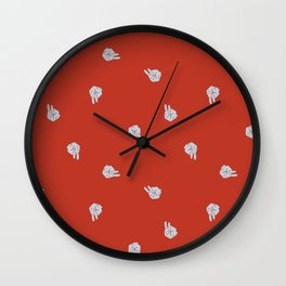 Cube Bunny Pattern - Red Wall Clock