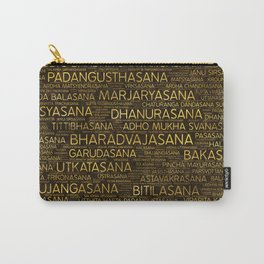 Gold Yoga Asanas / Poses Sanskrit Word Art Carry-All Pouch