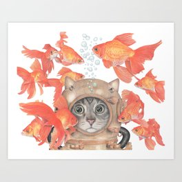 Scuba Cat Among the Fishes Art Print
