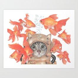 Scuba Cat Among the Fishes Art Print
