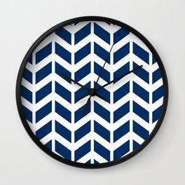 Dark blue and white chevron pattern Wall Clock