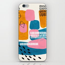 Mid Century Modern abstract Minimalist Fun Colorful Shapes Patterns Pink Teal Yellow Ochre Bubbles iPhone Skin