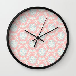 Shabby elegant coral ivory pastel blue floral damask Wall Clock