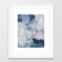 Navy Indigo Gray Blue Blush Pink Lavender Abstract Floral Spring Wall Art Framed Art Print