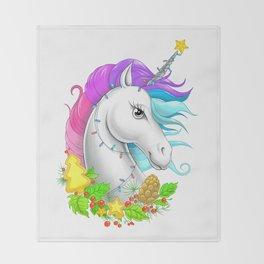 Xmas Unicorn Throw Blanket