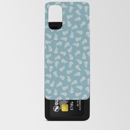 White Leaves on Blue Background Android Card Case