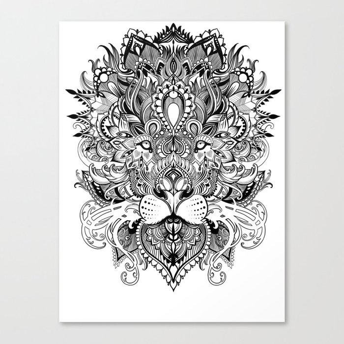 Black And White Geometric Pattern Mandala Lion Face Canvas Print By
