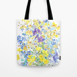 purple blue and yellow flowers bouquet watercolor   Tote Bag