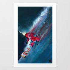 Extreme skiing illustration Art Print