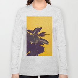 Mid Century Modern Yellow Background Color Pop Minimalist Plant Leaves Long Sleeve T-shirt