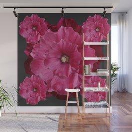 FUCHSIA-PINK  DOUBLE  HOLLYHOCK FLOWERS GARDEN Wall Mural