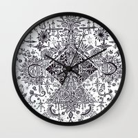 trippy Wall Clocks featuring Trippy by Sydne Barard