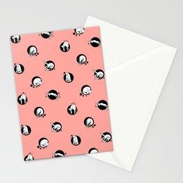Cat Yoga Modern Polka Dots Stationery Cards