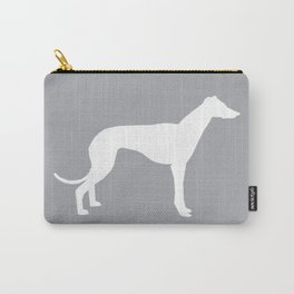 Greyhound square grey and white minimal dog silhouette dog breed pattern Carry-All Pouch